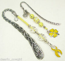 #6181 -- YELLOW AWARENESS RIBBON BEADED BOOKMARK SET HEART CLOVER FLOWER CHARMS