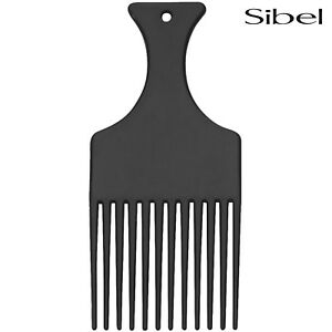 Sibel Afro Comb With HANDLE In Black For Detangling Wild Untameable Hair/Beards