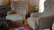 """Pair Of Large """"Bampton"""" ArmChairs Upholstered In Laura Ashley Dalton Gold"""