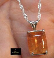 7.05 ct  Royal Imperial Topaz & Sapphire Silver Pendant