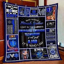 EMT Quilt Blanket, Gift for EMT, Essential Worker Quilt Blanket, Friend Gift