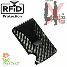 Men RFID Blocking Slim Money Clip Carbon Fiber Credit Card Holder Purse Wallet