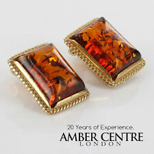CLASSIC COGNAC BALTIC AMBER CLIP ON EARRINGS 9 ct ITALIAN GOLD-GCL0014RRP£450!!!