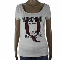 Moschino Taglia 46 Maglietta T-Shirt Blusa Maniche Corte Girocollo Donna