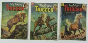 ROY ROGERS & TRIGGER 3 ISSUE RUN # 3 7 & 16 VG Dell Comics Western Lot