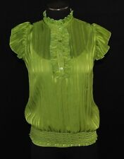 CHIC Green Striped Sheer Ruffle Day to Eve Dressy Blouse Shirt Top Cami M