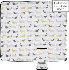 Catherine Lansfield Silly Sausage Dog Picnic Blanket 135x135cm NEW FREE P&P