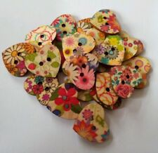 Heart Shaped Painted 2 Hole Wooden Buttons 20mm x 22mm, 25 Pieces