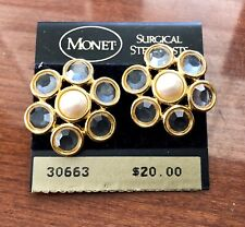 New Monet Faux Pearl Gold Tone Flower Surgical Steel Posts Earrings