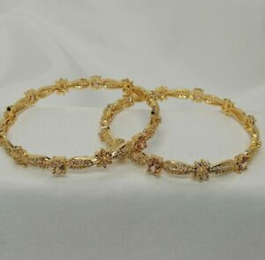 Indian Pakistani 2 Gold Bangles With champagne American Diamond Stones 2.10