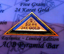 24k 99.99 Fine Gold ACB 5Grain Pyramid bar with Certificate of Authenticity