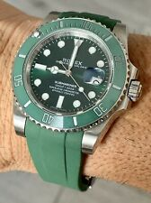 20mm GREEN Rubber Strap Band Rolex Watch Submariner with Aftermarket Buckle