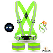 Reflective Strap Vest Running Gear + 2 Arm Bands for Running, walking, & Cycling