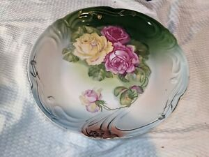 """REICHENBACH~Bavaria~Charger~12"""" D~Pink & Yellow Roses~NICE!"""
