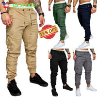 Men Drawstring Slim Urban Straight Leg Trousers Casual Pencil Jogger Cargo Pants