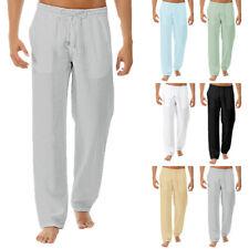 UK Summer Men's Casual Cotton Linen Loose Trousers Long Baggy Beach Yoga Pants #