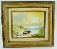 "Vintage Signed H GAILEY 16"" X 14""  NAUTICAL Oil Painting on Canvas Wood Frame"