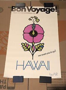 "Vintage 1969 Bon Voyage Hawaii Trippy Psychedelic Travel Poster NOS 22x34"""