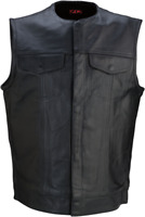 Z1R Motorcycle Vest Black Leather 338 2XLarge (2830-0358)