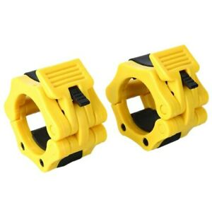 50mm A Pair Lock Jaw Collars Olympic Barbells Muscle Clamp Bar Lockjaw 2''Yellow