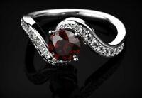 1.6ct Round Cut Red Garnet Engagement Ring 14k White Gold Finish Swirl Solitaire