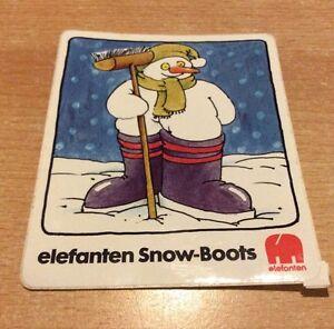 Alter Aufkleber von elefanten Snow - Boots, ca. 11,2 x 9,3 cm