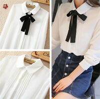 New Womens Long Sleeve Chiffon Tops Shirt Blouse Tops Bow Tie Peter Pan Collar