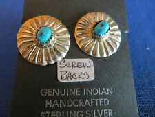 Vintage Zuni Hand Crafted Screw Back Turquoise Sterling Silver Earrings C. 1930