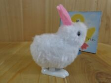 "HOPPING WIND UP TOY 3.5"" Fuzzy White Bunny Rabbit Pink Ears Easter"