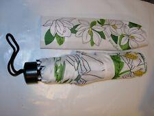 WOMENS NEW FRAGONARD FRANCE Perfume TRAVEL UMBRELLA WHITE GREEN MAGNOLIA