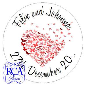 140 x Personalised Wedding Day 25mm Sticker Envelope Seals LOVEHEART Designs