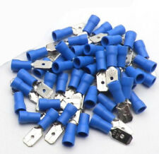 100x Blue Male 6.3mm Spade Connector Insulated Crimp Terminals Electrical Wiring