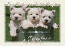 Tarjeta De Cumpleaños Personalizado Westie Cachorros Cachorro Hijo Nieto hija