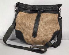 Hilary Radley Cross Body Purse Woven Straw Brown Vegan Leather