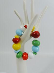 Chunky Art Glass Multicoloured Various Size Beaded Bracelet
