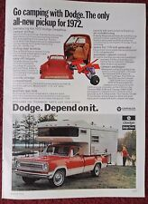 1972 Print Ad Dodge Sweptline Camper Pickup Truck ~ Toughness Just Your Style