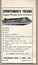 1957 Print Ad Sportsman's Friend Fiberglass Duck & Fishing Boats Coleman,TX