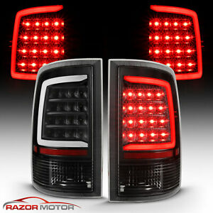 3500 C-Shaped Black LED Tail Lights Left Right Side Replacement Pair Set For 2009-2018 DODGE RAM 1500 10-18 2500