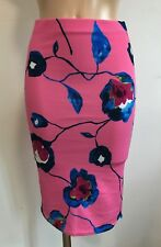PINK BLUE FLORAL PENCIL TUBE WIGGLE STRETCH MIDI SKIRT SIZE 10