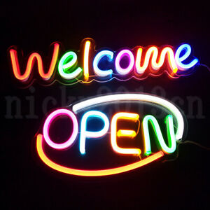 LED Welcome Open Sign Neon Lamp Acrylic Board panel Bussiness Shop Store Window