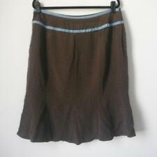 GARNET HILL Brown White Polka Dot Skirt Blue Ribbon 100% Silk Women's Size 16