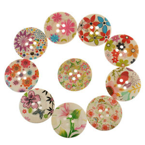 10pcs Multi-colored Wooden Round Flower Flatback Buttons on Garments