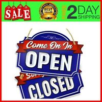 "XL Open Closed Sign,Double Sided with Rope for Hanging,1/4 Inch PVC 9""x14""(Blue)"