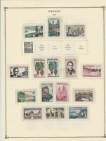 france 1957 stamps page mounted mint & used ref 17499