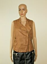 Brown Look Leather DENIM CO Zip Hip Length Biker Jacket Waistcoats Size 16 / 44