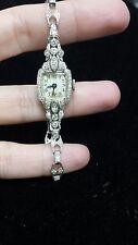 Antique Platinum 1ct Diamond Ladies 1940s Watch