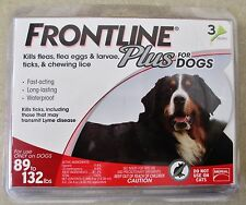 FRONTLINE PLUS For Dogs 89-132 lbs XL 3 pack Doses (Kills Fleas, Ticks, & Lice)
