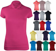 Womens Short Cap Sleeve Gathered Polo Turtle Neck Ladies T-Shirt Top Plus Size