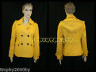 NEW VICTORIA SECRET YELLOW WOOL BLEND DOUBLE BREASTED HOODED PEACOAT COAT SZ 0