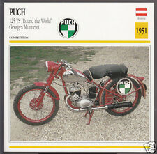 1951 Puch 125 TS Round The World Georges Monneret Austria Motorcycle Photo Card